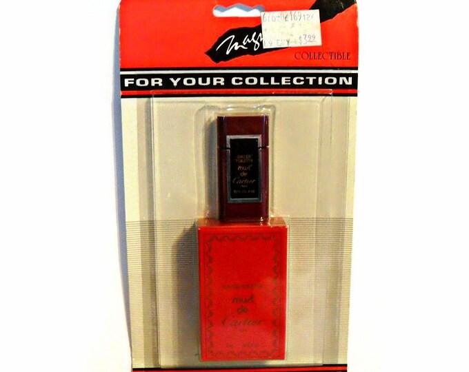 Vintage 1980s Must de Cartier 0.13 oz Eau de Toilette Mini Miniature Perfume and Box