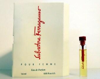 Vintage 1990s Salvatore Ferragamo pour Femme 0.05 oz Eau de Parfum Sample Vial on Card PERFUME