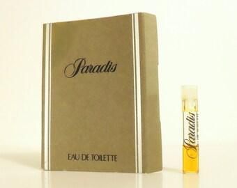 Vintage 1980s Paradis by Saks Fifth Avenue Eau de Toilette Sample Vial on Card PERFUME