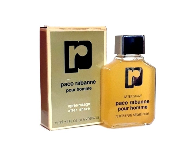 Vintage 1980s Paco Rabanne Pour Homme 2.5 oz After Shave Splash Cologne