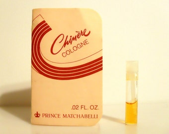 Vintage 1980s Chimere by Prince Matchabelli 0.02 oz Cologne Sample Vial on Card PERFUME