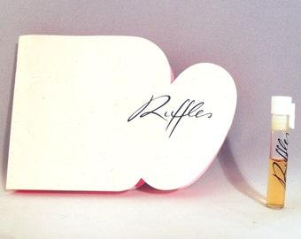 Vintage 1980s Ruffles by Oscar De La Renta 0.03 oz Eau de Toilette Sample Vial on Card PERFUME