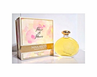Vintage 1980s Fleur de Fleurs by Nina Ricci 1.7 oz (50ml) Parfum de Toilette Splash & Box Lalique Flacon PERFUME