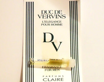 Vintage 1990s Duc de Vervins by Parfums Claire Cologne Sample Vial on Card