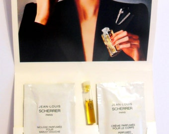 Vintage 1980s Jean-Louis Scherrer 1.5 ml EDP, 10 ml Shower Gel and 10 ml Body Cream Samples PERFUME