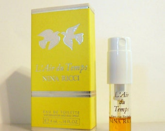 Vintage 1980s L'Air du Temps by Nina Ricci 0.14 oz Eau de Toilette Spray Mini Sample PERFUME