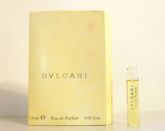 Vintage 1990s Bvlgari Pour Femme by Bvlgari Bulgari 0.05 oz Eau de Parfum Sample Vial on Card PERFUME