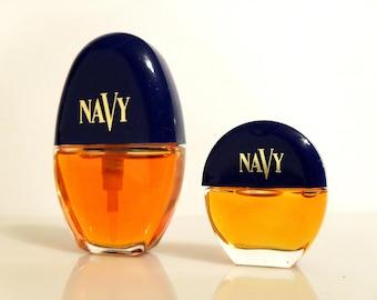 Vintage 1990s Navy by Cover Girl 0.10 oz Cologne Splash and 0.30 oz Cologne Spray Mini Miniature PERFUME