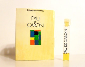 Vintage 1980s Eau de Caron by Caron 0.06 oz Cologne Selectionee Sample Vial on Card PERFUME