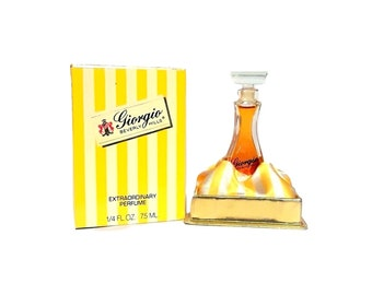 Vintage 1980s Giorgio Beverly Hills 0.25 oz (7.5ml) Pure Parfum Mini Miniature & Box PERFUME
