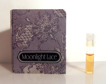 Vintage 1980s Moonlight Lace by Avon 0.02 oz Cologne Sample Vial on Card PERFUME