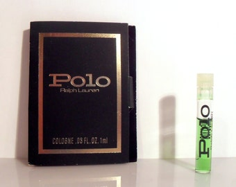 Vintage 1980s Polo by Ralph Lauren 0.03 oz Cologne Splash Sample Vial on Card PERFUME
