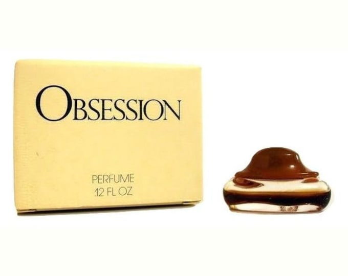Vintage 1980s Obsession by Calvin Klein 0.12 oz Parfum Mini Miniature and Box #3 PERFUME