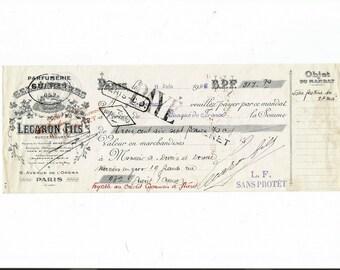 Antique 1922 Gelle Freres Parfums Perfume Merchandise Receipt Ancien Acquit Parfumerie Ephemera #3