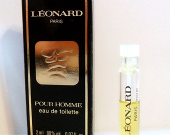 Vintage 1980s Leonard Pour Homme by Leonard 0.07 oz Eau de Toilette Sample Vial on Card COLOGNE