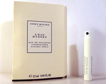 Vintage 1990s L'Eau d'Issey by Issey Miyake 0.04 oz Eau de Toilette Sample Vial on Card PERFUME