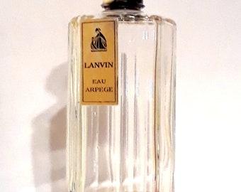 Vintage 1940s Eau Arpege by Lanvin 4 oz Eau de Cologne Splash Art Deco Octagonal Bottle Bakelite Cap PERFUME