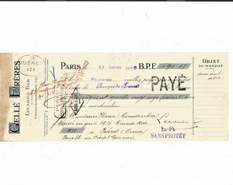 Antique 1926 Gelle Freres Parfums Perfume Merchandise Receipt Ancien Acquit Parfumerie Ephemera #1