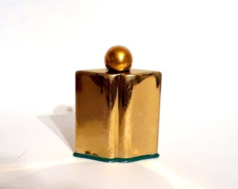 Vintage 1930s Emeraude by Coty Art Deco Gilded Metal Purse Perfume Bottle Flacon Surrealist Lips