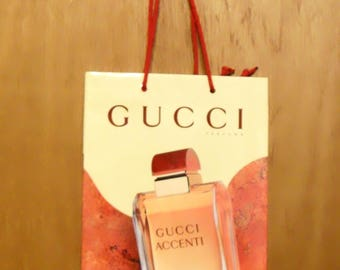 Vintage 1990s Accenti by Gucci Perfume Promotional Paper Shopping Bag Designer Fragrance Collectible