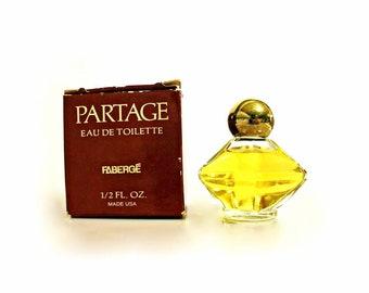 Vintage Perfume 1970s Partage by Faberge 0.5 oz Eau de Toilette Splash Mini Miniature and Box DISCONTINUED