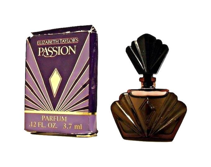 Vintage 1990s Passion by Elizabeth Taylor 0.12 oz Pure Parfum Splash Mini Perfume Bottle and Box PERFUME #2