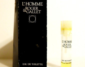 Vintage 1980s L'Homme by Roger et Gallet 0.17 oz Eau de Toilette Sample Vial on Card COLOGNE