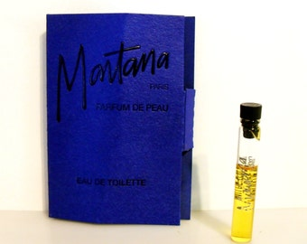 Vintage 1980s Montana Parfum de Peau 0.05 oz Eau de Toilette Sample Vial on Card PERFUME