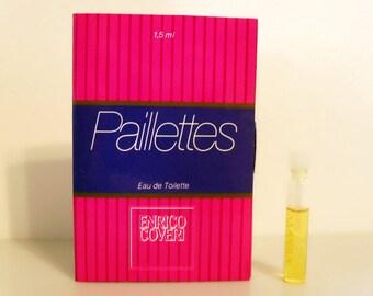 Vintage 1980s Paillettes by Enrico Coveri 0.05 oz Eau de Toilette Sample Vial on Card PERFUME