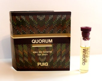 Vintage 1980s Quorum by Antonio Puig 1.7 ml Eau de Toilette Sample Vial on Card COLOGNE