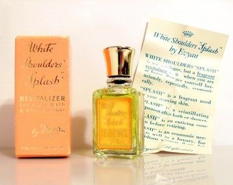 Vintage 1950s White Shoulders by Evyan 0.5 oz Mini Miniature After Bath Revitalizer Cologne Splash and Box PERFUME
