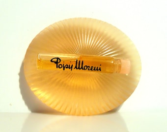 Vintage 1990s Popy Moreni Perfume Sample Vial on Chunky Ribbed Acrylic Holder