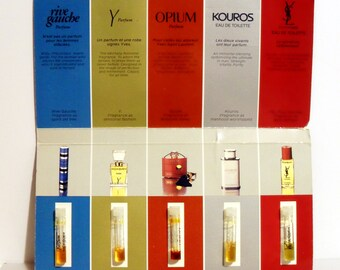 Vintage 1980s Yves Saint Laurent Perfume and Cologne Sample Vials on Large Promotional Card