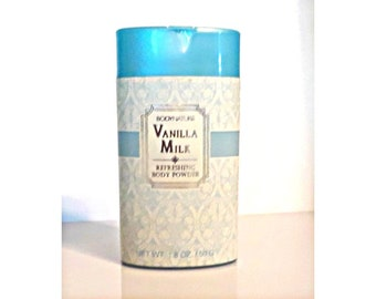 Vintage 1990s Vanilla Milk by Body Nature 1.8 oz Perfumed Talcum Powder Shaker Canister