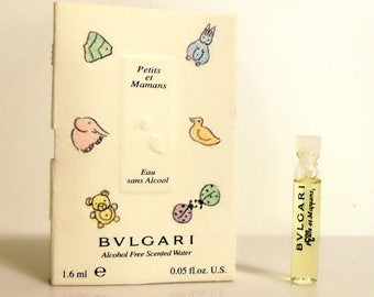 Vintage 1990s Petits et Mamans by Bvlgari 0.05 oz Alcohol Free Scented Water Sample on Card PERFUME