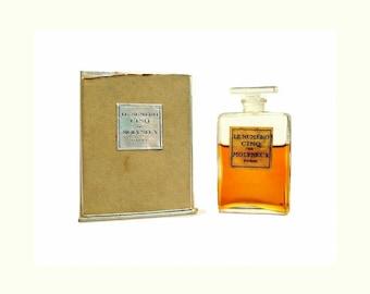 Antique 1920s Le Numero Cinq de Molyneux 0.5 oz (15ml) Extrait Pure Parfum & Presentation Box Vintage PERFUME