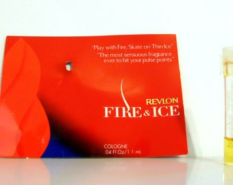 Vintage 1990s Fire & Ice by Revlon 0.04 oz Cologne  Sample Vial on Card PERFUME
