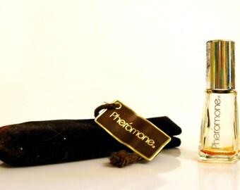 Vintage 1980s Pheromone by Marilyn Miglin 0.09 oz Parfum Mini Miniature and Velvet Pouch PERFUME