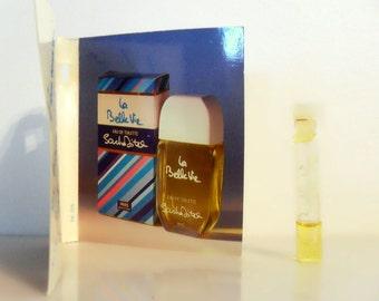 Vintage 1980s La Belle Vie by Sacha Distel 0.04 oz Eau de Toilette Sample Vial on Card PERFUME