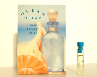 Vintage 1990s Ocean Dream by Giorgio Beverly Hills 0.03 oz Eau de Toilette Sample Vial on Card Perfume