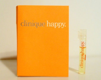 Vintage 1990s Happy by Clinique 0.03 oz Perfume Sample Vial on Card