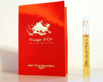 Vintage 1990s Nuage d'Or by Marc de la Morandiere Eau de Toilette Sample Vial on Card PERFUME