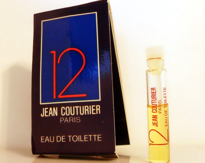 Vintage 1980s 12 by Jean Couturier 0.06 oz Eau de Toilette Sample Vial on Card COLOGNE