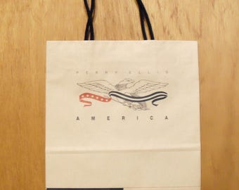 Vintage 1990s America by Perry Ellis Perfume Promotional Paper Shopping Bag Designer Fragrance Collectible