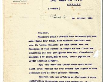 Antique 1924 Gelle Freres Lecaron Fils Signature Parfums Perfume Merchandise Letter Ancien Lettre Parfumerie Ephemera #1