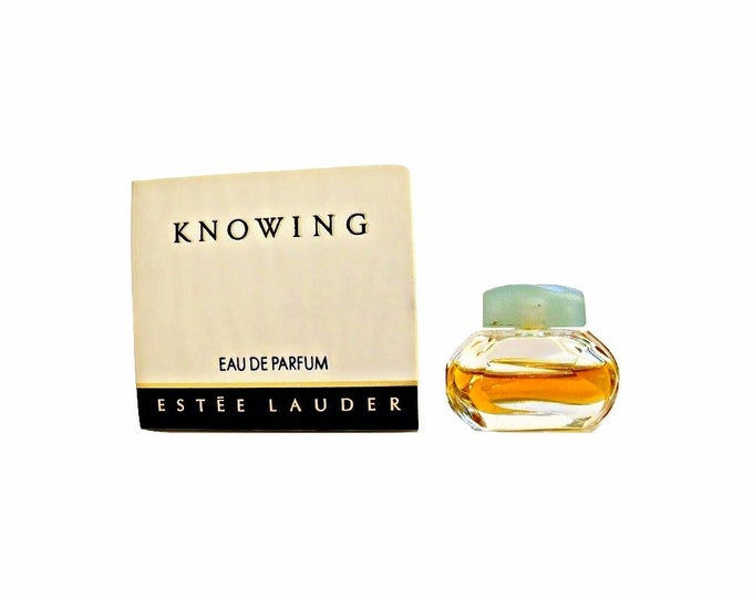 Vintage 1980s Knowing by Estee Lauder  0.12 oz Parfum Splash Miniature Perfume Bottle and Box