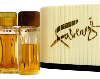 PERFUME Vintage 1960s Woodhue, Flambeau and Aphrodisia by Faberge Cologne Trio Set in Box