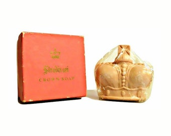 Vintage 1950s Stradivari by Prince Matchabelli Perfumed Crown Shaped Soap in Box