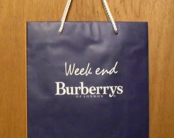 Vintage 1990s Weekend by Burberry Perfume Promotional Paper Shopping Bag Designer Fragrance Collectible