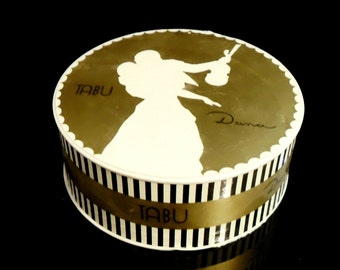 Vintage 1950s Tabu by Dana 4.25 oz Perfumed Dusting Powder After Bath Powder Empty Box